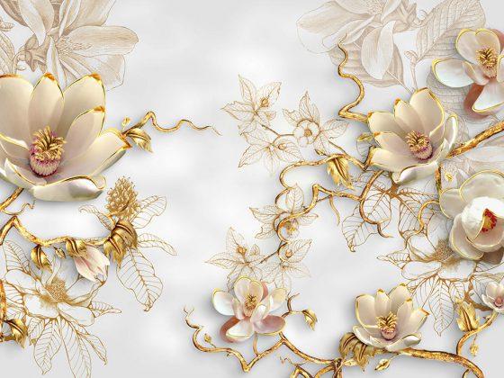 پوستر دیواری گل طلایی ceramic