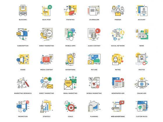 مجموعه آیکون دیجیتال مارکتینگ
