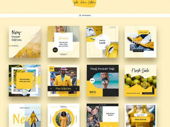 12 قالب پست اینستاگرام Yellow Pen