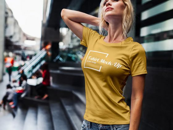 موکاپ تیشرت دخترانه Fashion Girl