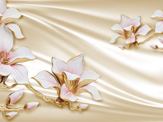 پوستر سه بعدی گل طلایی سرامیکی